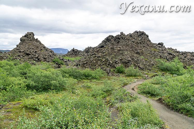 Что посмотреть около озера Миватн в Исландии. Лавовые поля Диммуборгир.