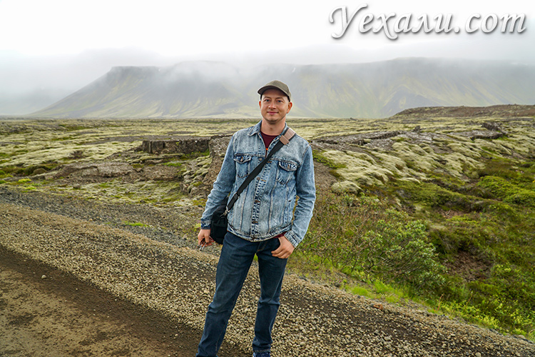 Лавовое поле недалеко от Рейкьявика, Исландия.