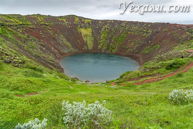 Кратерное озеро Керид, Исландия.