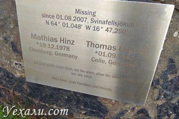 Мемориальная табличка ледник Свинафелл в Исландии
