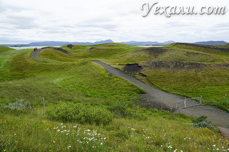 Псевдократеры Скутустадагигар в Исландии фото туристов
