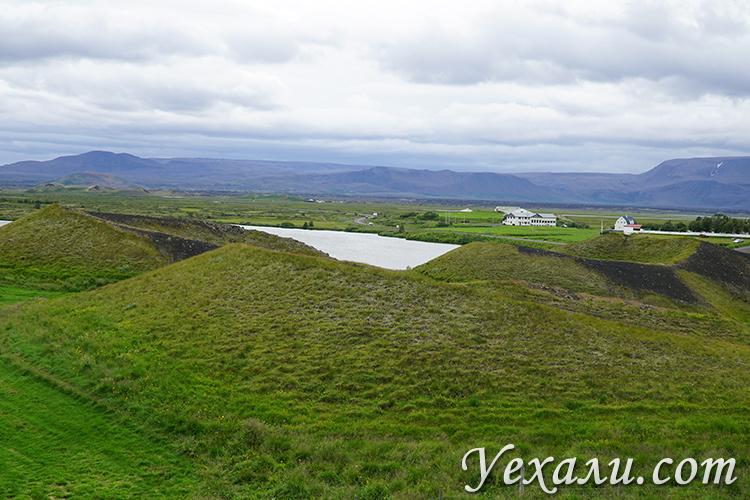 Псевдократеры Скутустадагигар в Исландии фото летом