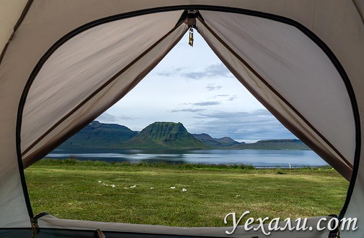 Исландия. Вид из палатки на гору Киркьюфелл.