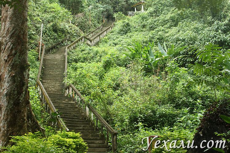 Chang Cave, Слоновья Пещера в Ванг Вьенге, лестница ко входу