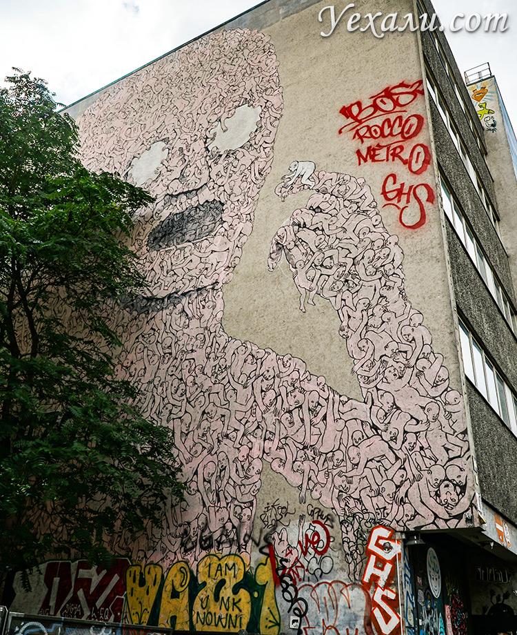 """Граффити в Берлине, которые стоит посмотреть: """"Розовый монстр"""" в Кройцберге."""