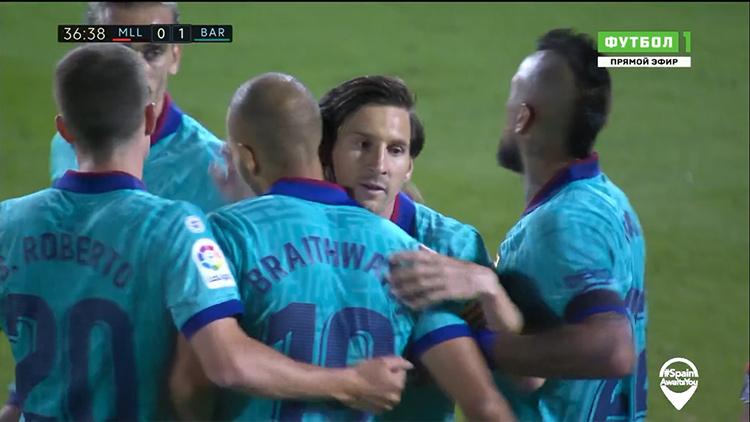 Майорка - Барселона, 0 - 4, 13 июня 2020. Скриншот телеканала «Матч Футбол 1».
