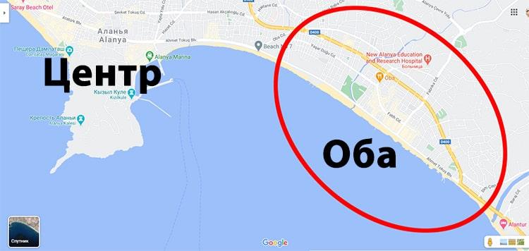 Район Оба в Алании на карте.